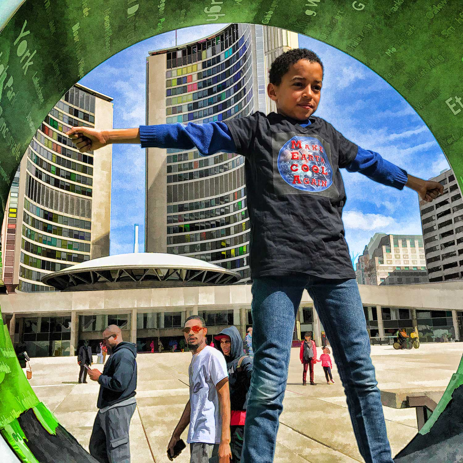 Kid plays in Nathan Philips Square